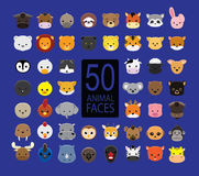 Cute Animal Faces Cartoon Vector Illustration. 50 animal face icons EPS10 file format Royalty Free Stock Image