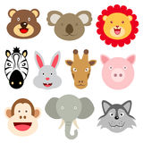 Cute animal faces. Illustration. EPS 10 file and large jpg included Royalty Free Stock Photo