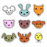Cute animal faces set. Set of cute animal faces royalty free illustration
