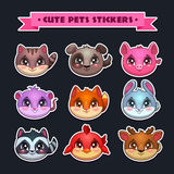 Cute animal faces set Royalty Free Stock Image