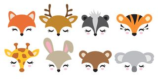 Cute Animal Faces Vector Illustration Set stock image