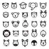 Cute Animal Faces Vector Set Stock Photo