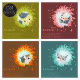 Cute animal family background with Cats Stock Image
