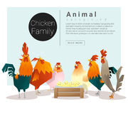 Cute animal family background with Chickens Royalty Free Stock Photography