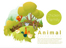 Cute animal family background with Chickens Royalty Free Stock Images