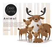 Cute animal family background with Deers vector illustration