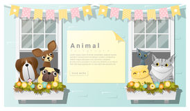 Cute animal family background with Dogs and Cats Royalty Free Stock Photo