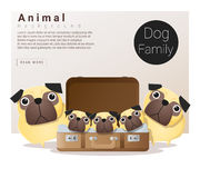 Cute animal family background with Dogs Stock Images
