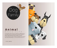 Cute animal family background with Dogs. Vector , illustration Royalty Free Stock Images