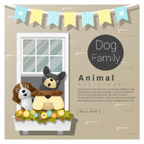 Cute animal family background with Dogs Royalty Free Stock Photo