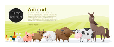Cute animal family background with farm animals Royalty Free Stock Images