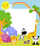 Cute animal and frame. Illustration art Stock Images