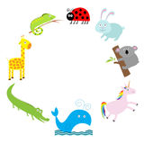 Cute animal frame. Baby background. Ladybug, koala, whale, alligator, giraffe and iguana. Flat design Royalty Free Stock Image
