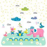 Cute animal friends cartoon vector style. royalty free illustration