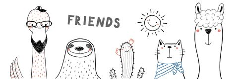 Cute animal friends. Hand drawn portrait of a cute funny flamingo, sloth, cactus, llama, cat, with text Friends. Isolated objects on white background. Line royalty free illustration