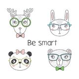 Cute animal in glasses. Set of hand drawn cute funny portraits of bear, panda, bunny, reindeer in glasses, with text Be smart.. Isolated objects on white Stock Photography