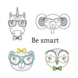Cute animal in glasses. Set of hand drawn cute funny portraits of bear, unicorn, owl, elephant in glasses, with text Be smart.. Isolated objects on white Royalty Free Stock Photos