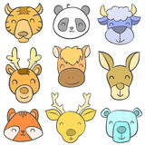 Cute animal head colorful doodles Stock Photography