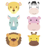 Cute animal head icon01 Stock Image