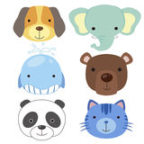 Cute animal head icon02 vector illustration