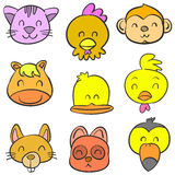 Cute animal head style of doodles Royalty Free Stock Image