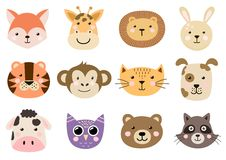 Cute animal heads for baby and children design Royalty Free Stock Images