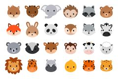 Cute animal heads collection. Flat style. Cute animal heads collection. Vector animals heads isolated on white background Royalty Free Stock Photo