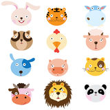 Cute Animal Heads Element. A Vector Illustration of Cute Animal Heads Element Stock Images