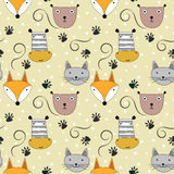 Cute animal heads seamless pattern Royalty Free Stock Images