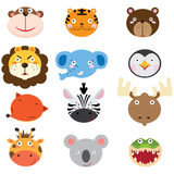 Cute Animal Heads Set. A Vector Illustration of Cute Animal Heads Set Royalty Free Stock Images