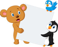 Cute animal holding blank sign Stock Images