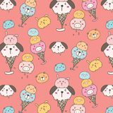 Cute Animal Ice Cream Pattern Background. Hand Drawn Vector Illustration stock illustration