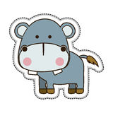 Cute animal icon image. Hippopotamus cute animal icon image vector illustration design stock illustration
