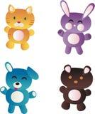 Cute Animal Icons. A set of four cute cartoon animal icons vector illustration
