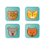 Cute Animal Icons. Set of 4 Glossy Animal Icons Buttons royalty free illustration