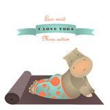 Cute animal illustration of yoga pose Royalty Free Stock Photos