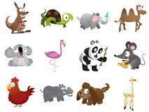 12 cute animal illustrations. A dozen cartoon animals with eps and jpeg file royalty free illustration