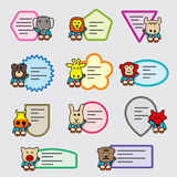 Cute animal label set, sticker Stock Photography
