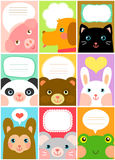 Cute animal labels. Set of labels with cartoon animals Stock Image