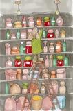 Cute animal like humans. Humanized animal. Dressed mouse. Marker illustration. Cute animal like humans. Humanized animal. Dressed mouse holds jam in the pantry Stock Image