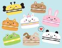 Cute Animal Macarons Vector Illustration stock illustration