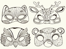 Cute animal masks Royalty Free Stock Photos