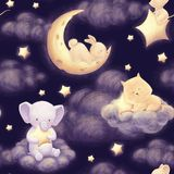 Night sky seamless pattern. Cute animal and night sky seamless pattern with rabbut, cat and elephant. Dark clouds, moon and stars. Beautiful baby bedclothes Stock Images