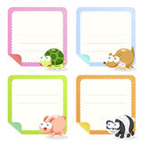 Cute animal note papers collection Royalty Free Stock Photos