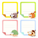 Cute animal note papers collection Royalty Free Stock Images