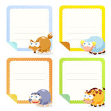 Cute animal note papers collection Royalty Free Stock Photo