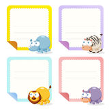Cute animal note papers collection Royalty Free Stock Image
