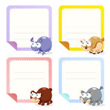 Cute animal note papers collection Stock Image