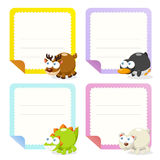 Cute animal note papers collection Stock Photos