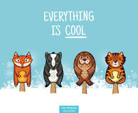 Cute animal popsicles illustration. Vector ice cream set Royalty Free Stock Image
